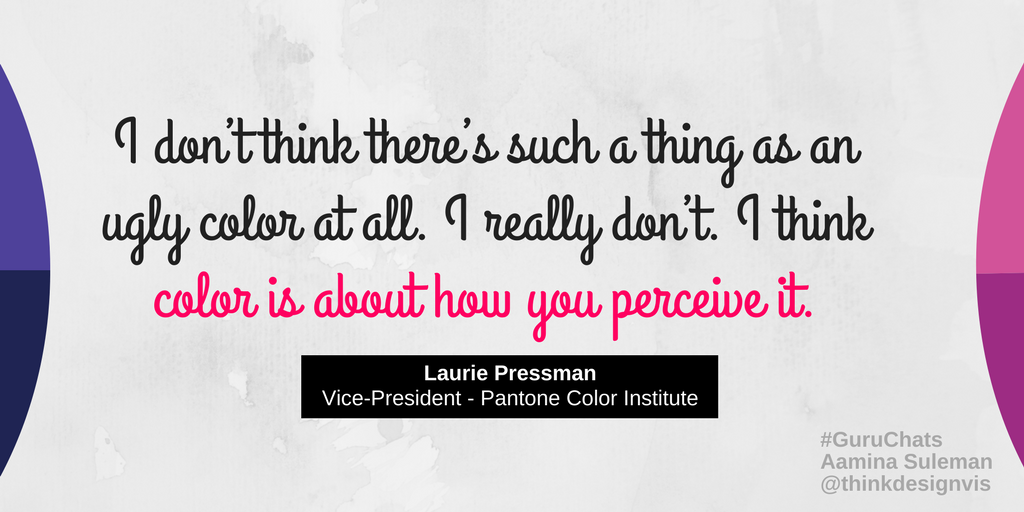 """A1b) Laurie Pressman of @pantone says """"color is about how you perceive it"""" when people said #Pantone448C is the fugliest color. #GuruChats https://t.co/VK12n5Jg4b"""