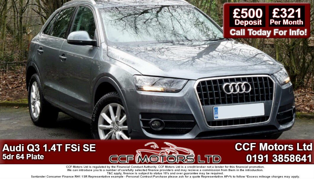 Audi Q3 1.4 TFSi SE 5dr 64 Plate £500 Deposit And £321 Per Month #ccfmotorsltd #audiq3 #familycar #comfort #fitness #gym #followforfollow<br>http://pic.twitter.com/u945ApITE8