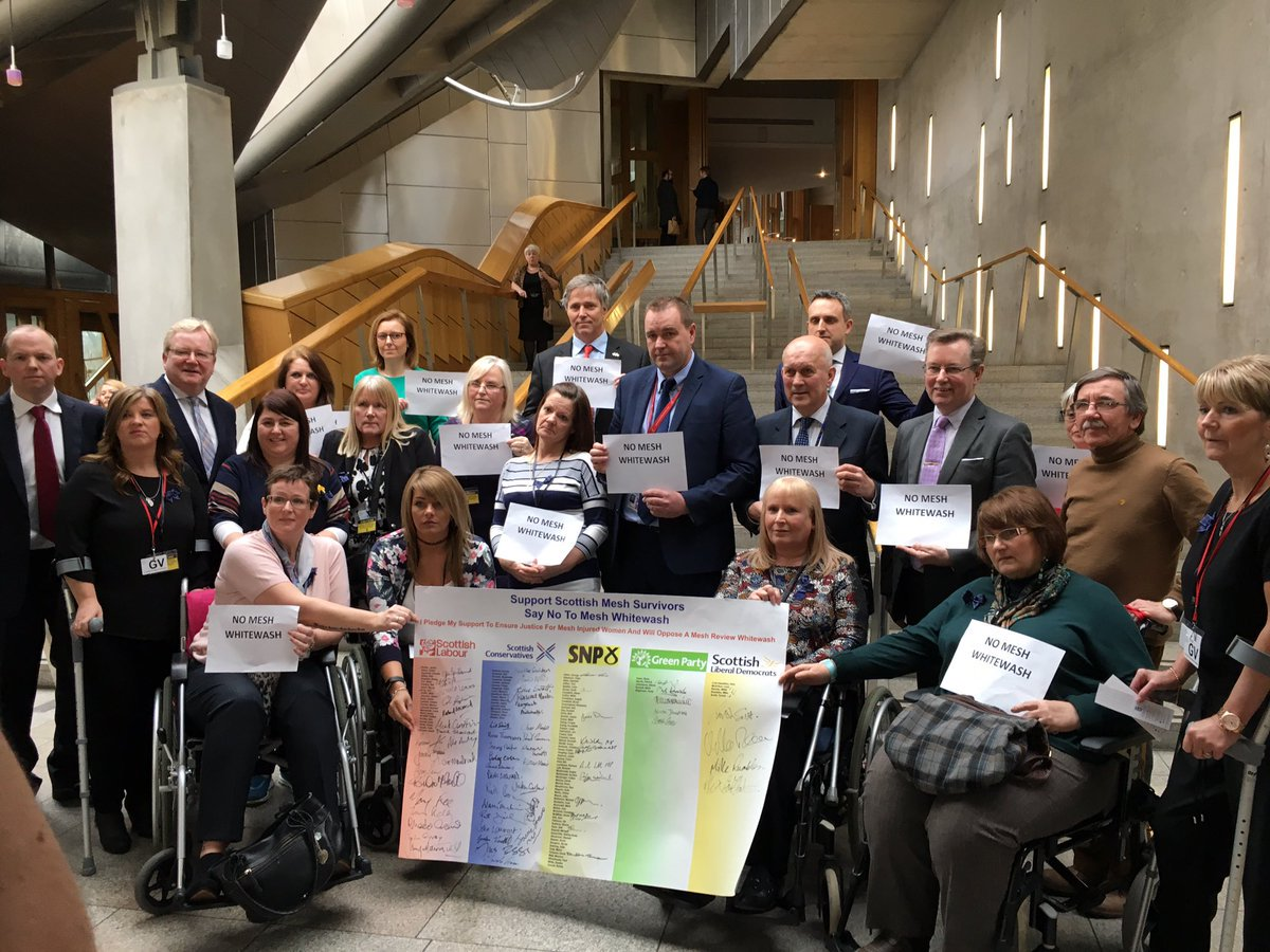 Tom at 2.30pm, #Mesh related Ministerial Announcement @scotparly MSP&#39;s that signed the pledge make your voices heard. The World can see you <br>http://pic.twitter.com/2bwY4UWKry