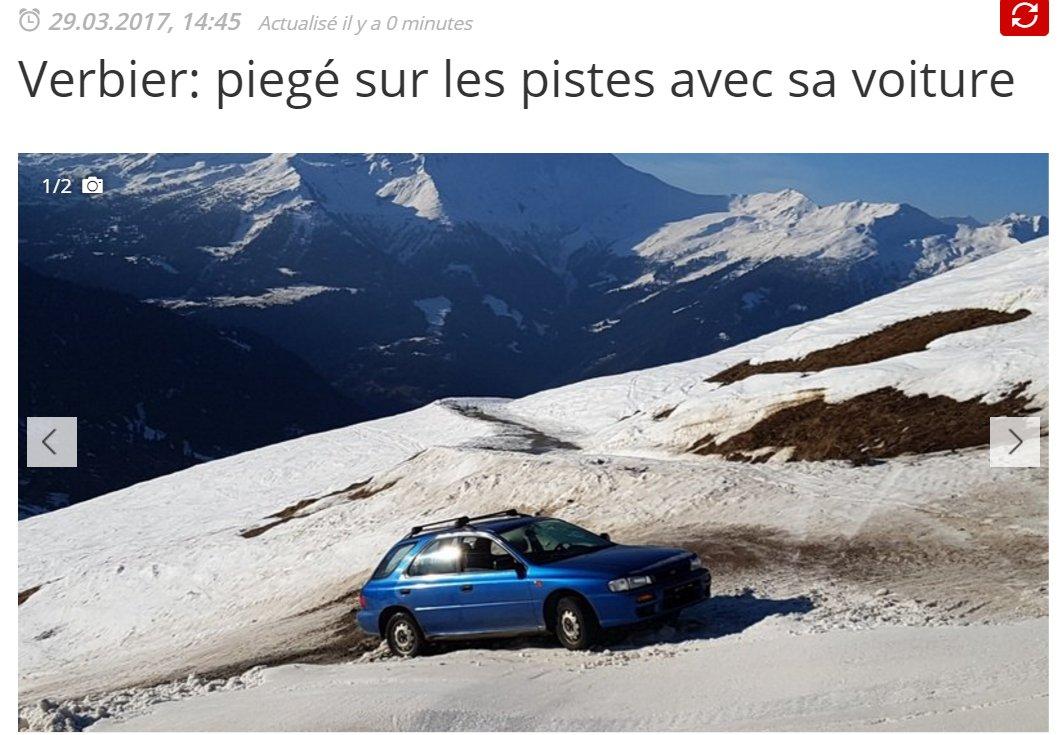 Dans la série &quot;clichés du #Valais&quot; : l&#39;Imprez&#39; bleue coincée en ça sur les pistes à Verbieuuh :) <br>http://pic.twitter.com/zesEzaxhQJ