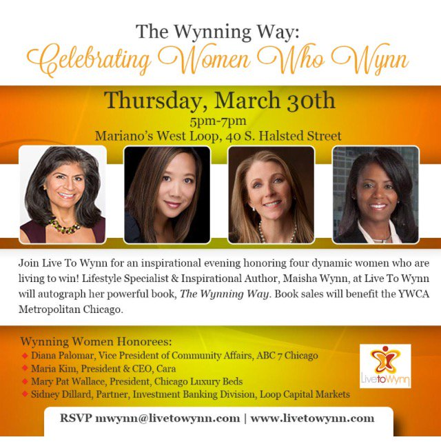 3/30 is the BIG DAY at @MarianosMarket! @LiveToWynn1 is honoring 4 #Chicago dynamos &amp; giving back to the @YWCAChicago!  #WomensHistoryMonth <br>http://pic.twitter.com/UVlYzF4lZm