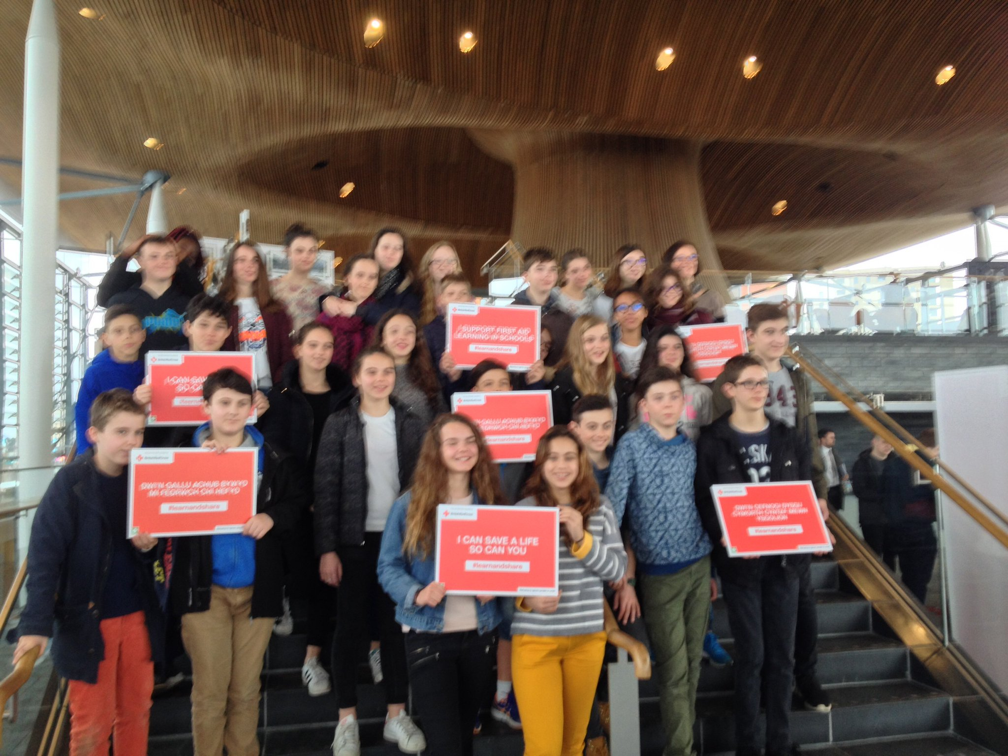 French school children from Orleans support the @BritishRedCross and @CardiffYC first aid event at the Senedd. #learnandshare https://t.co/8sfBs0HXRK
