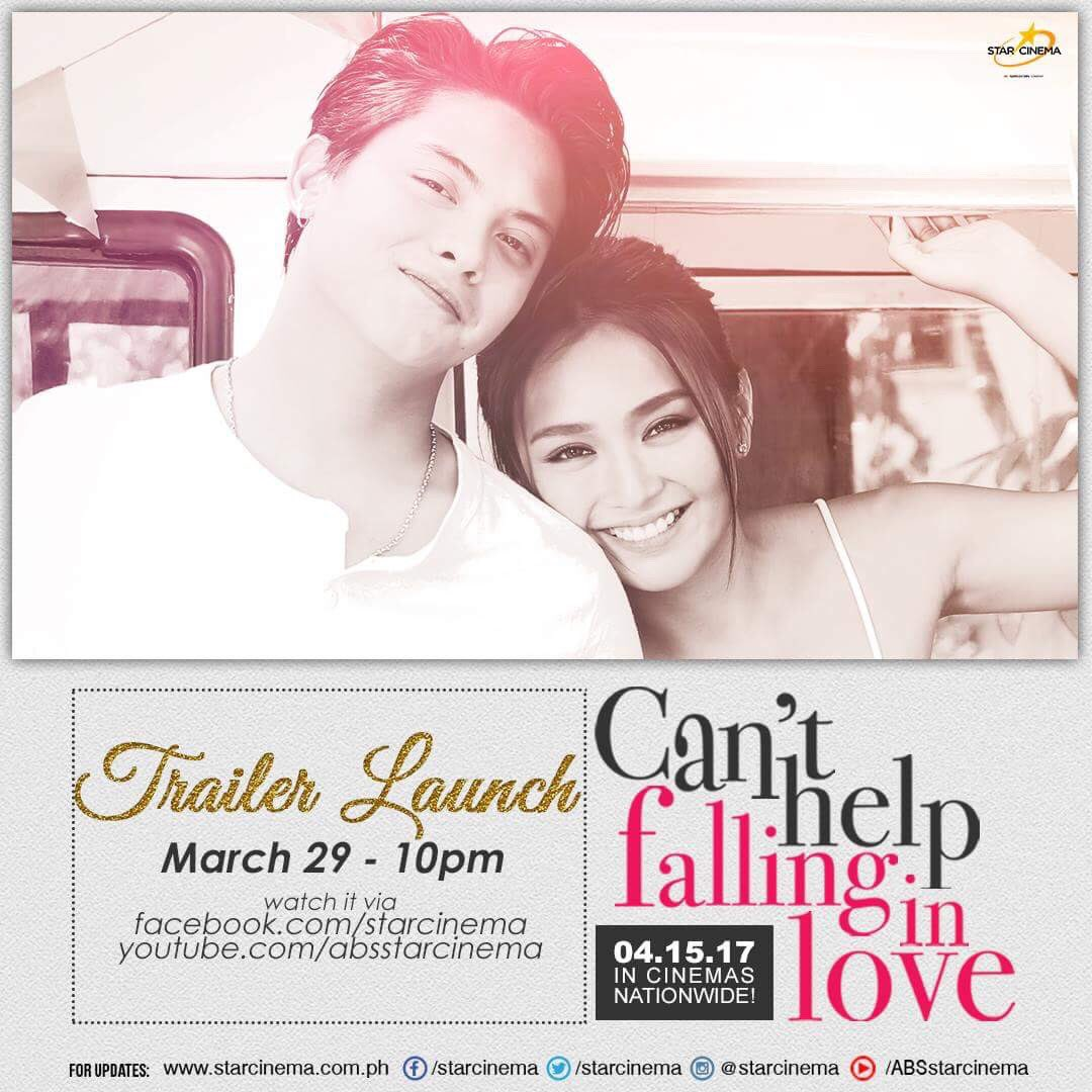#CHFILTrailerLaunch tonight, 10pm on Star Cinema Facebook page and YouTube channel! #CantHelpFallingInLove