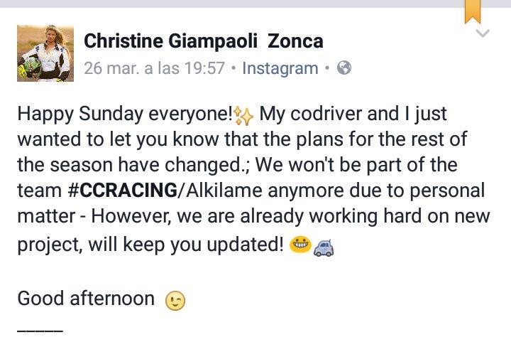Finalmente, @ChristineGZonca no disputará el programa de pruebas previsto para este año con CCRacing. #CERA #CERT <br>http://pic.twitter.com/EjUWLacXBl