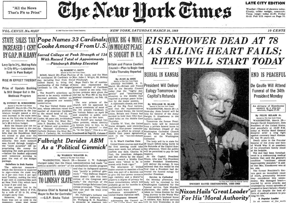 Image result for former president   dwight david  eisenhower death