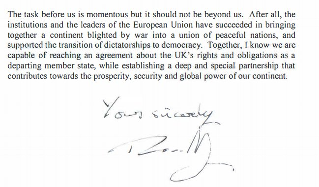 Here's the end of the letter from Theresa May to Donald Tusk starting...