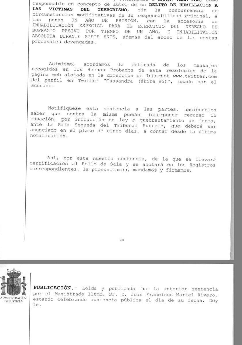 La Audiencia Nacional condena a un año de cárcel a Cassandra por sus t...
