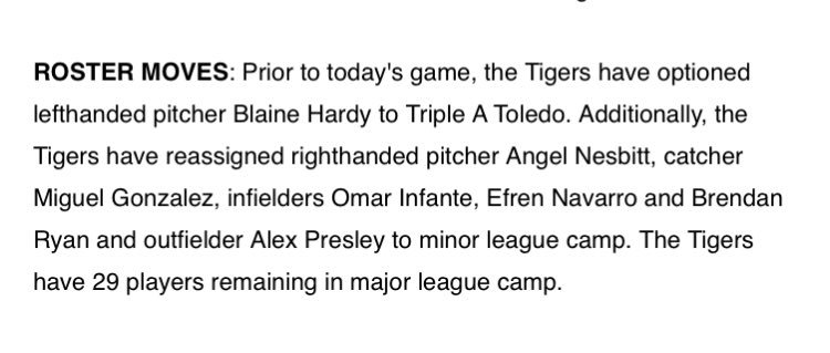 The #Tigers announced the following roster moves today. https://t.co/N...