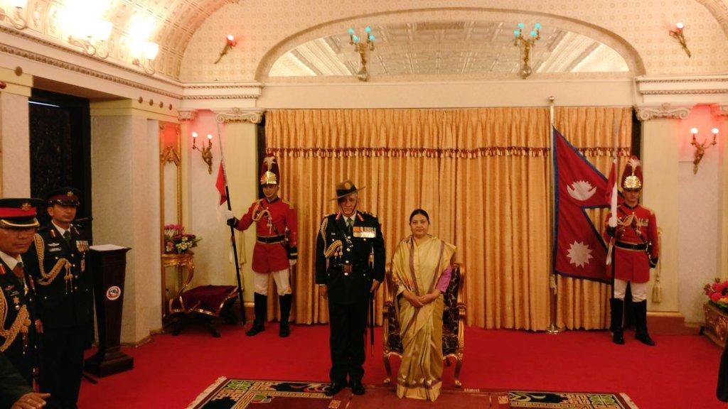 Jangi Laat Gen Bipin Rawat confered as General of the Nepal Army by Nepal President Bidya Devi Bhandari