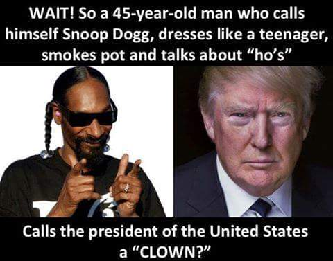 Snoop Dogg calling Trump a &quot;clown&quot; is like Sean #Hannity calling Ted Koppel a REAL journalist.  #MAGA #WednesdayWisdom<br>http://pic.twitter.com/YLdl44Dx0l
