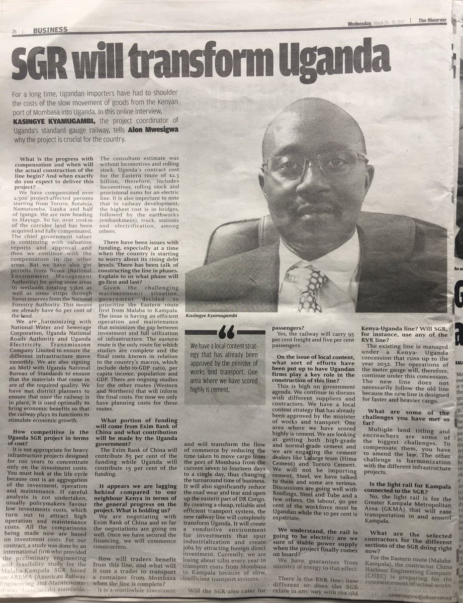 kasingye kyamugambi head sgr twitter head sgr breaks down the sgrprogress and addresses faqs in today s interview the observerugpic twitter com snlgd0dczz