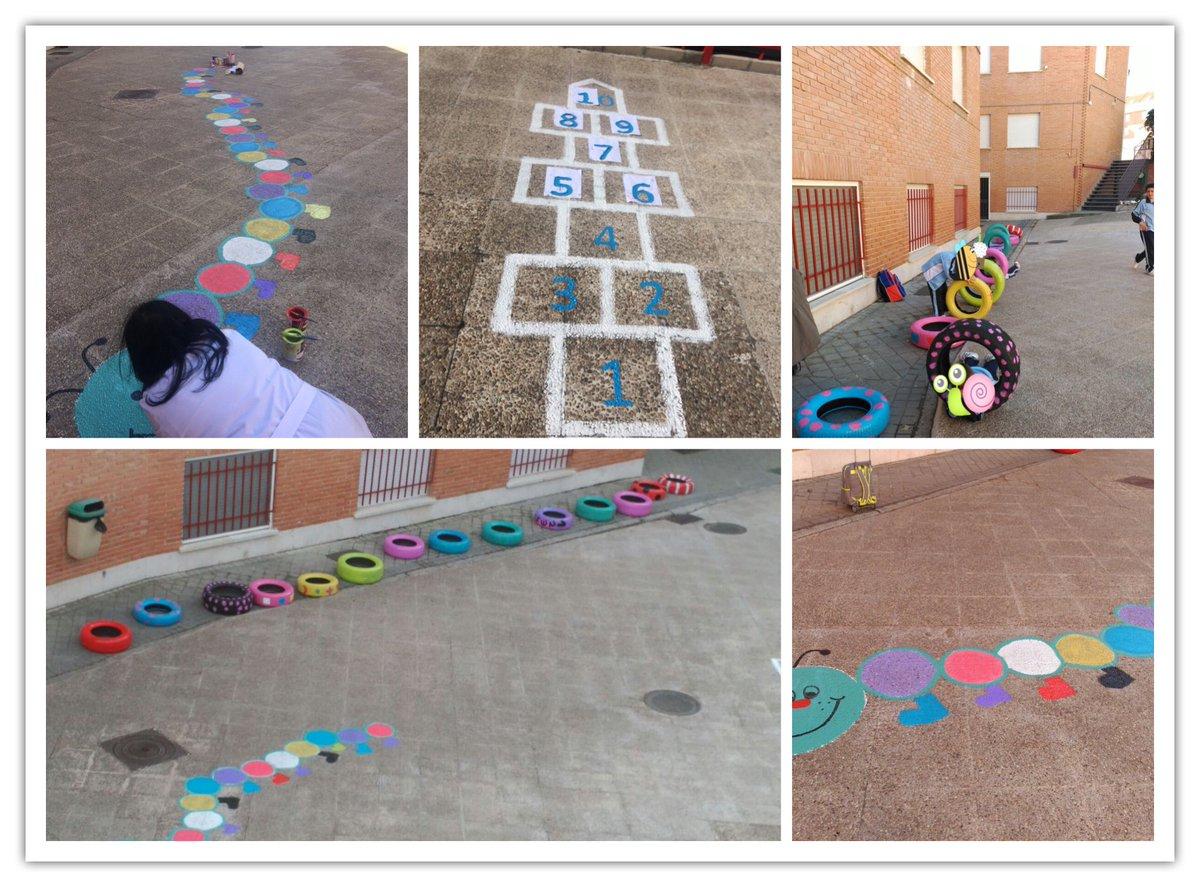El patio se va llenando de colores, figuras y formas #alegría y #diversión para #aprenderjugando en los #colegiossv #AMPA de @hijascaridadsv<br>http://pic.twitter.com/UShqyeYOmh