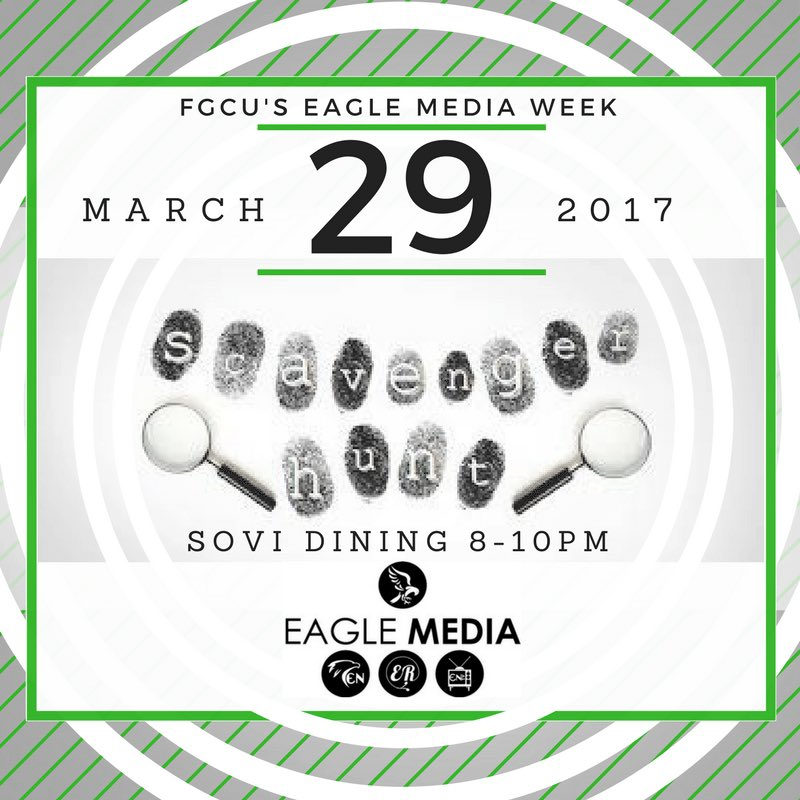 Tonight is the #EagleMediaWeek Scavenger Hunt! Come out to #SOVI at 8 p.m. There will be prizes! #FGCU #EagleMedia<br>http://pic.twitter.com/J8emcjslSj