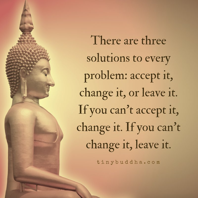 there are three solutions to every problem accept it change it or