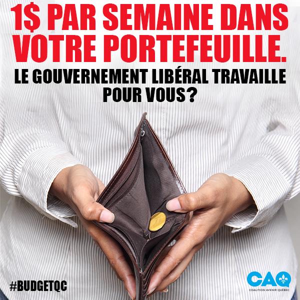 Après avoir grugé 1300$ dans vos portefeuilles, le gouv. libéral vous redonne 1$ par semaine… Insuffisant! #CAQ #polqc #assnat #BudgetQc<br>http://pic.twitter.com/sxM39wEnYY