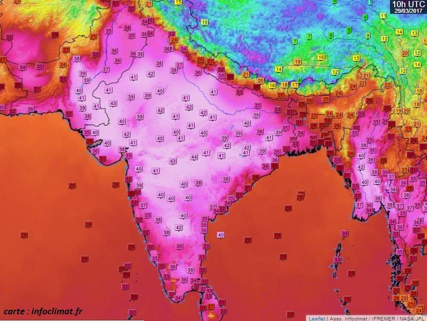 impressionnante surface &gt;40°C sur #Inde/#Pakistan ce 29 mars #chaleur souvent proche des records mensuels, jusqu&#39;à 43/44°C #India #heatwave<br>http://pic.twitter.com/VevNDCfOEJ