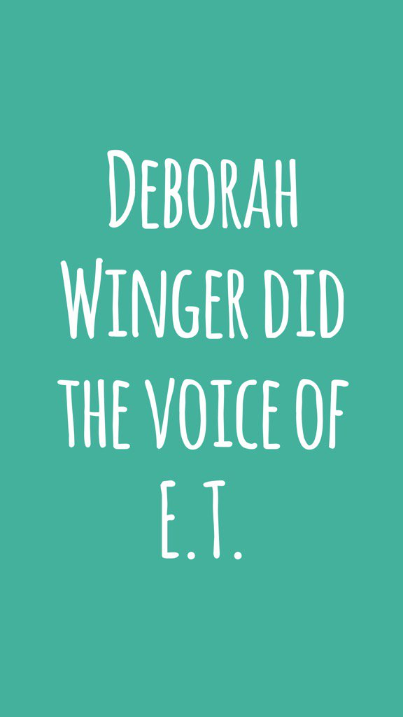 Deborah Winger did the voice of E.T. #didyouknow #fact #interesting #random   http:// itunes.apple.com/app/id92497706 9?at=11lv8V&amp;ct=Facts &nbsp; … <br>http://pic.twitter.com/zQ611SO8Zm