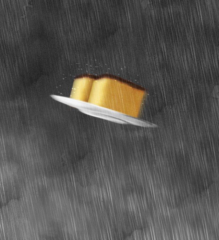 豪雨の中を高速で飛行するカステラ描きました