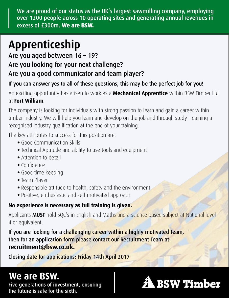 dywwesthighland on twitter an exciting new apprentice position sent into by bsw to work at their flagship manufacturing mill in corpach hihopeorg - Are You A Tram Player Ability To Work In A Team