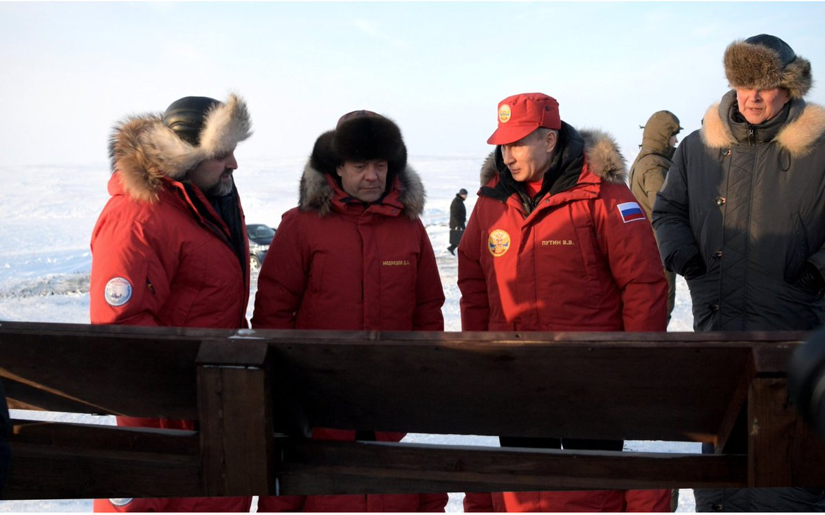 Medvedev and Putin together in the Arctic today