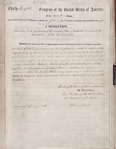 The #Senate passed the 13th Amendment to abolish slavery #OTD in 1864 https://t.co/b7lDdZI1hj https://t.co/VquJWHMNtc