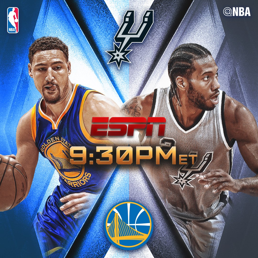 In tonight's @ESPNNBA action, the @warriors visit the @spurs at 9:30pm...