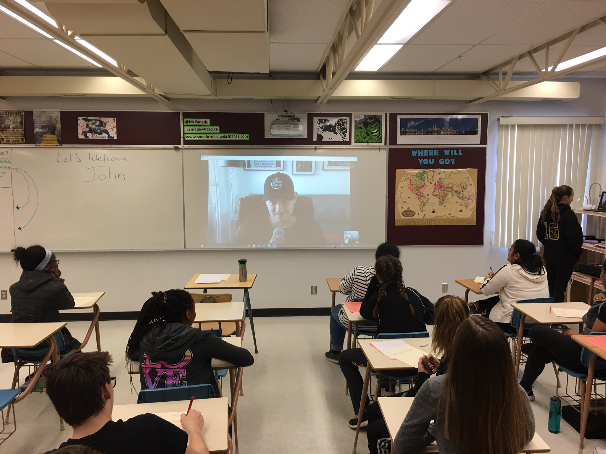 P2 ELAA9 had 2nd #SmaduSkypeSessions © today with #YYZ sushi chef John fr @sushicateringTO. Many thanks! @oneilltitans @RCSD_No81 #rcsdtech https://t.co/0ZqZM4KviH
