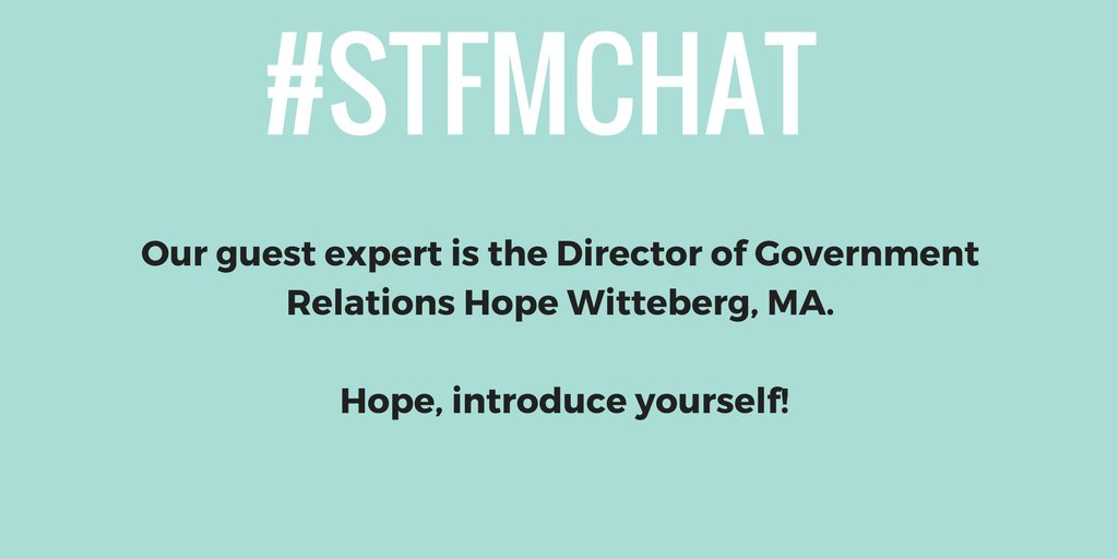 Hello everyone and welcome to the #stfmchat! Tonight we're hearing from @HopeWittenberg! https://t.co/9jexV3rJYW