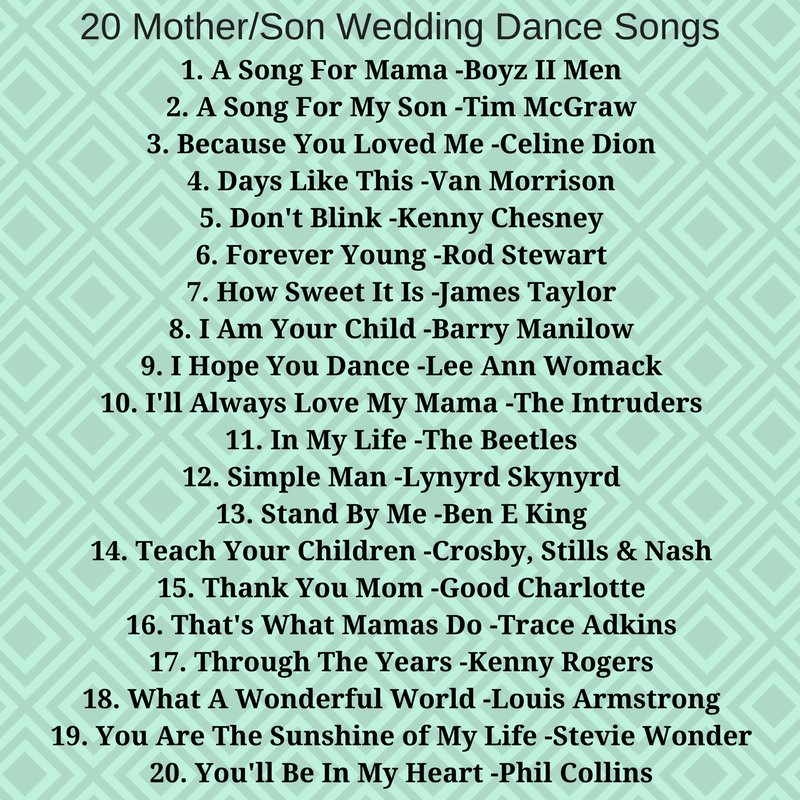 Mother And Son Wedding Dance Songs.Clint The Gent On Twitter Check Out These Top 20 Mother Son