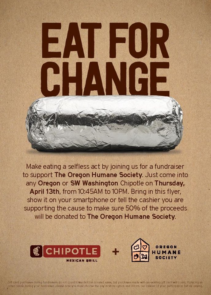 Our #Chipotle day a few months ago got stuck in a #PortlandSnow day, so @ChipotleTweets is generously giving us another chance! On 4/13:<br>http://pic.twitter.com/8qiEdeExmU