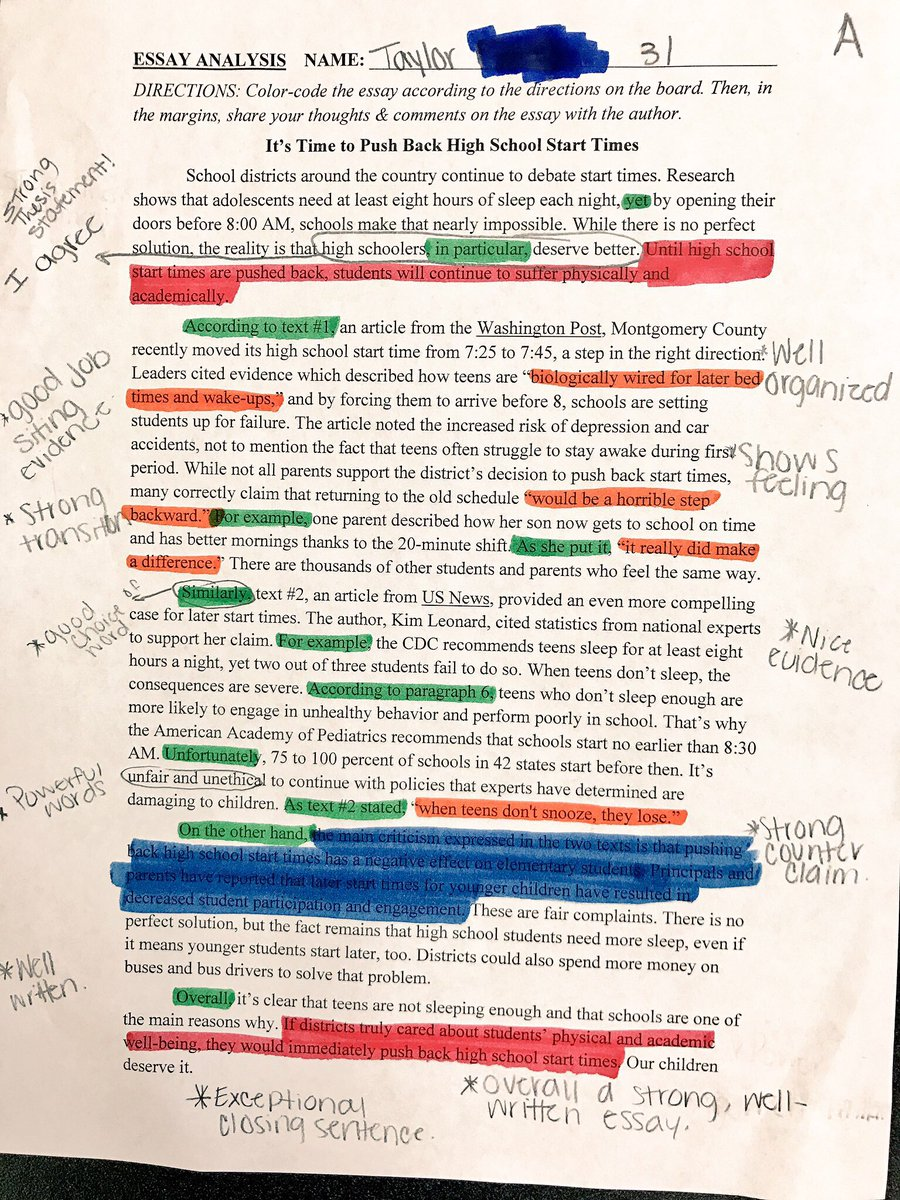 How To Write A Proposal For An Essay Jarred Amato On Twitter Following Yesterdays Colorcoding Activity Ss  Continued To Analyze Exemplar Argumentative Essay To Improve Their Own  Writing  Essay Term Paper also Example Of English Essay Jarred Amato On Twitter Following Yesterdays Colorcoding  My Hobby Essay In English