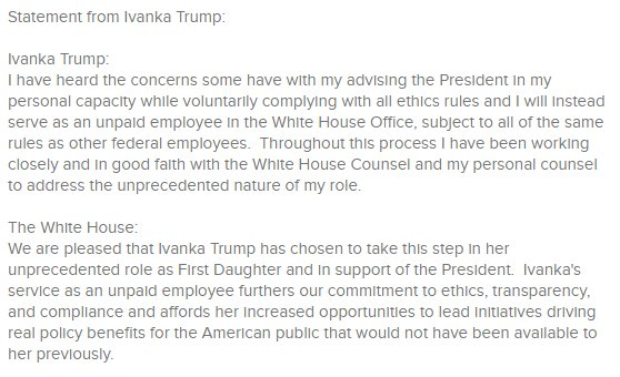 JUST IN: Ivanka Trump has been named Assistant to the President and wi...