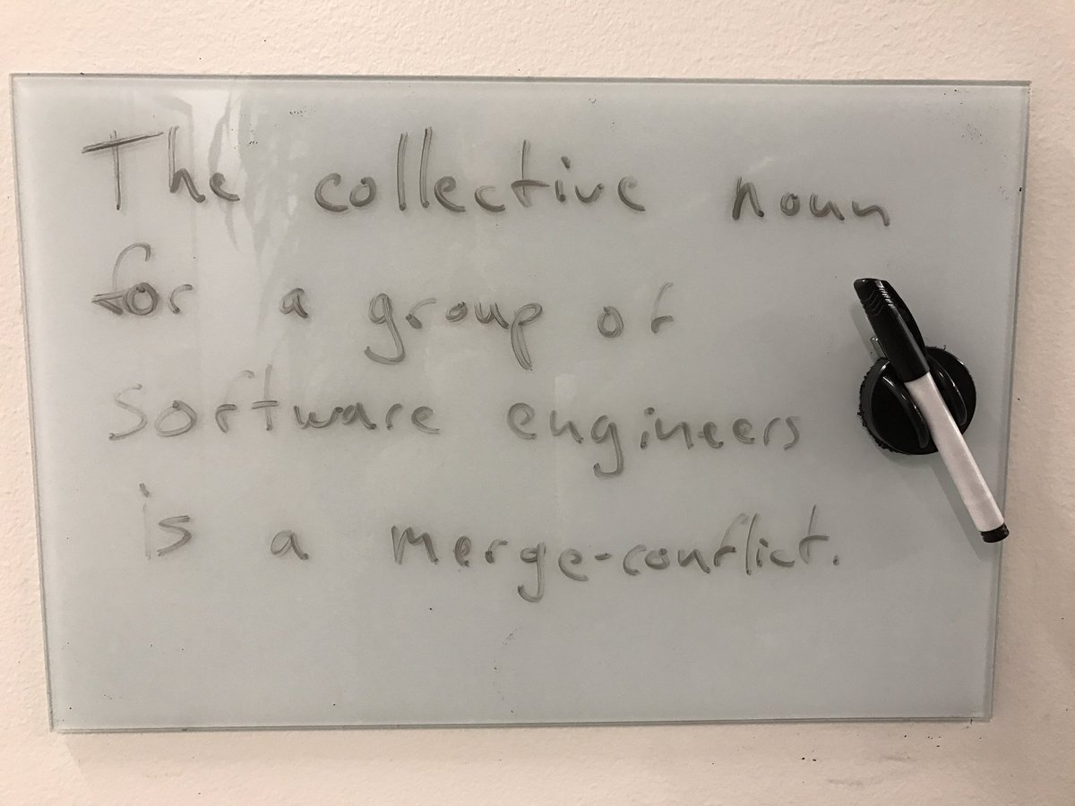 "Wednesday humor from @googlecloud SF: ""The collective noun for a group of software engineers is a merge-conflict."" https://t.co/kxUHUHK6Q4"