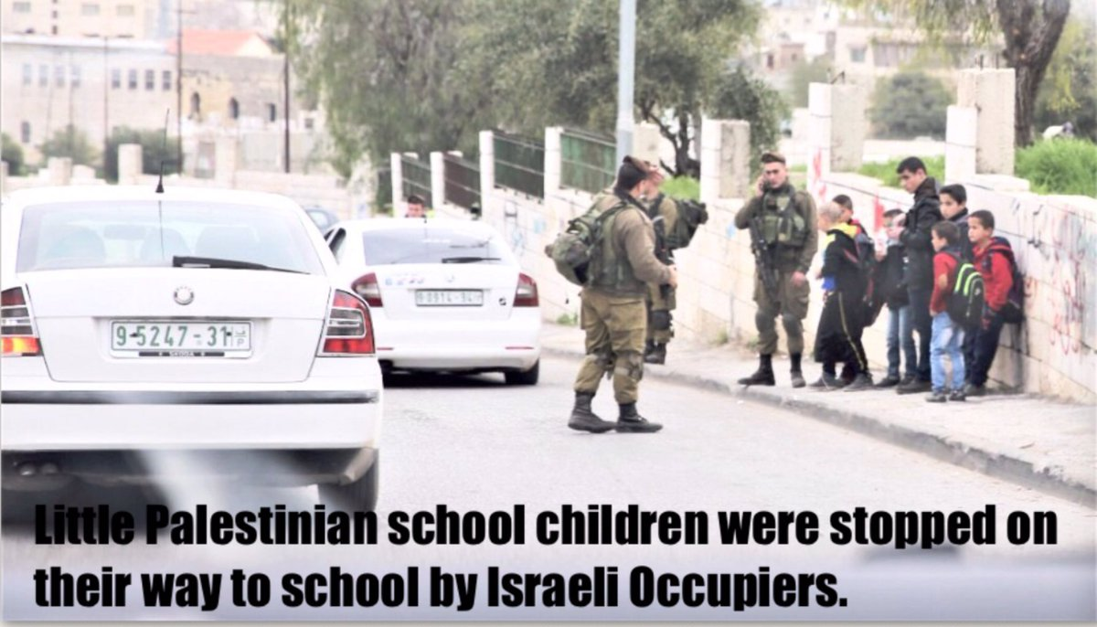 #Palestinian children walking to school, were stopped and terrorized by #Israeli Occupiers <br>http://pic.twitter.com/XQlDnNqCdh