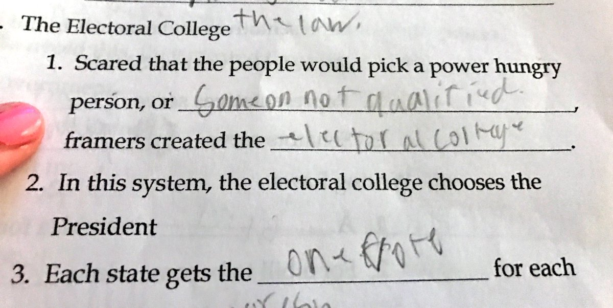 My 10-yr-old son, a 5th grader, is currently studying the #ElectoralCollege. Now he&#39;s SERIOUSLY confused on how DT was elected. His homework <br>http://pic.twitter.com/dFa25JBIOH