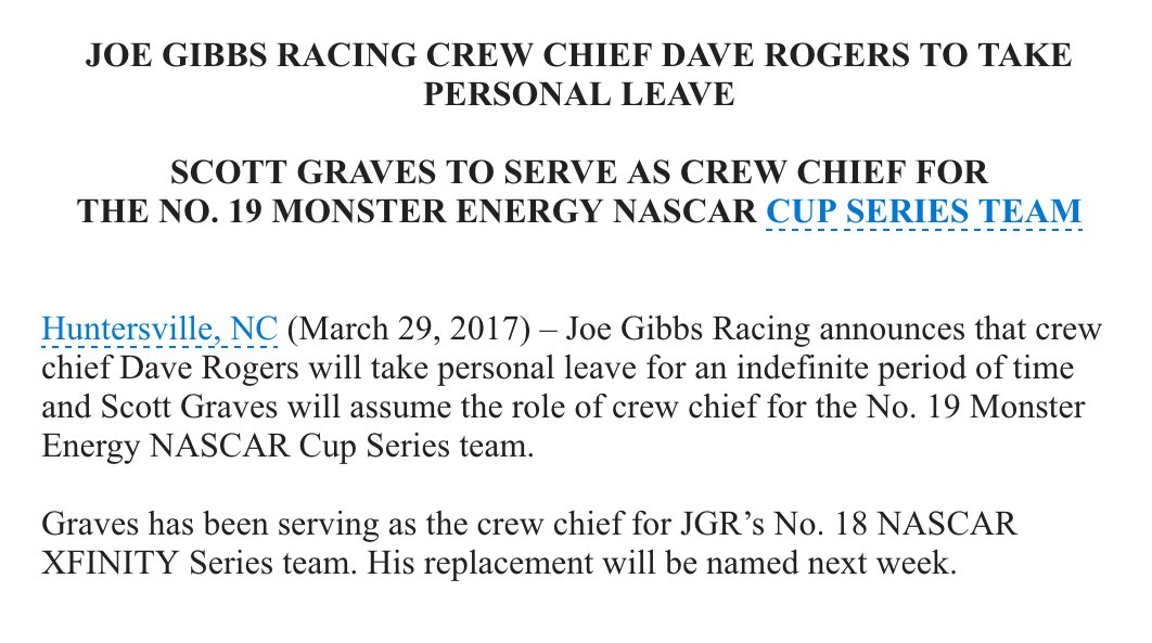 Big news here: Dave Rogers taking indefinite leave of absence from No....