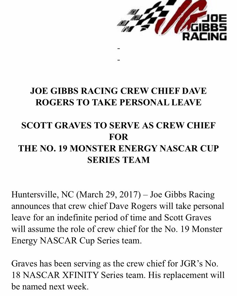 Daniel Suarez crew chief Dave Rogers to take indefinite leave of absen...