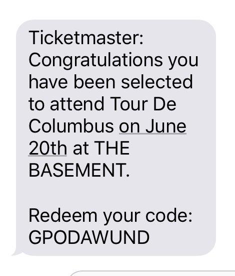 GOT THE CODE!!! SO PUMPED @twentyonepilots!!!!!!    #tourdecolumbus ht...