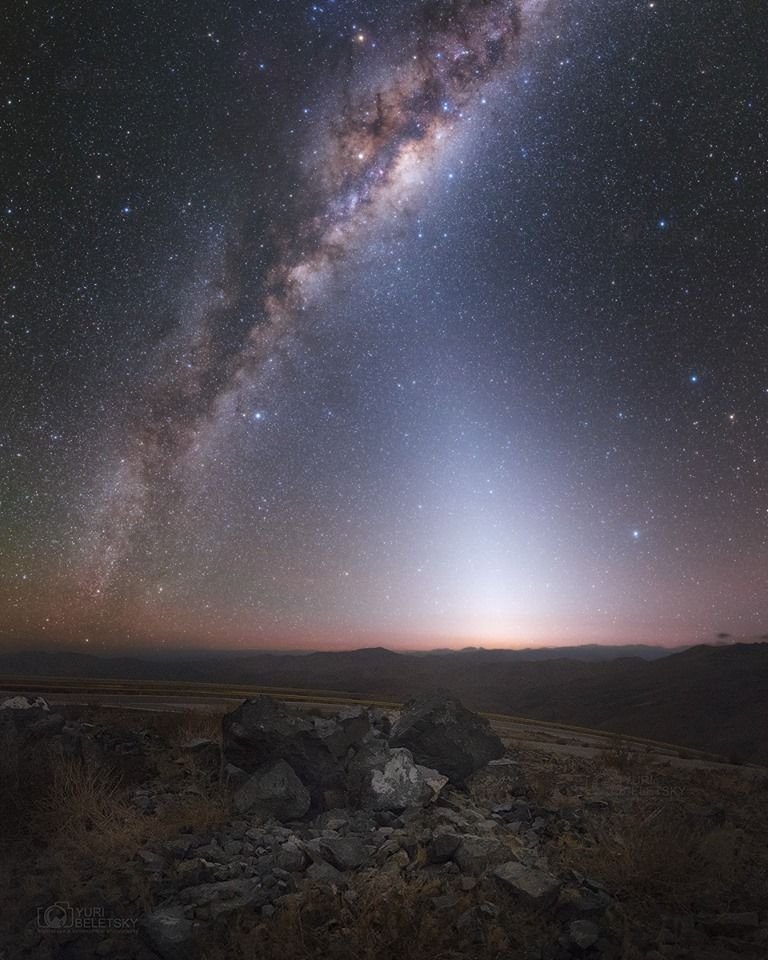 Wow!    'Zodiacal light and the Milky Way from Atacama desert this mor...