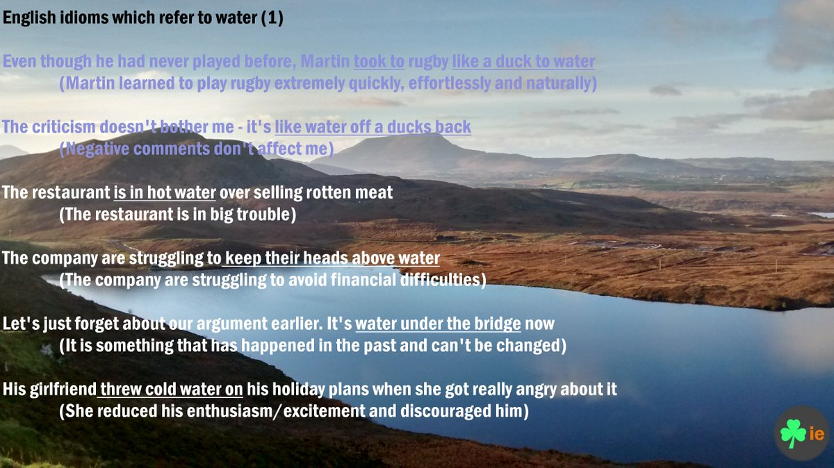 English #idioms connected to #water #englishidioms #영어 #ingles #irelandenglish <br>http://pic.twitter.com/vPAjUZCbzi