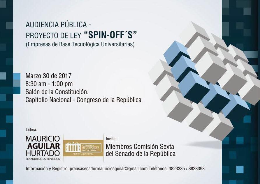 &#39;Audiencia pública proyecto de ley #SpinOff&#39; @SenadorAguilar Vía @SenadoGovCo    http:// bit.ly/2oA8TkL  &nbsp;  <br>http://pic.twitter.com/piOeMCMK4u