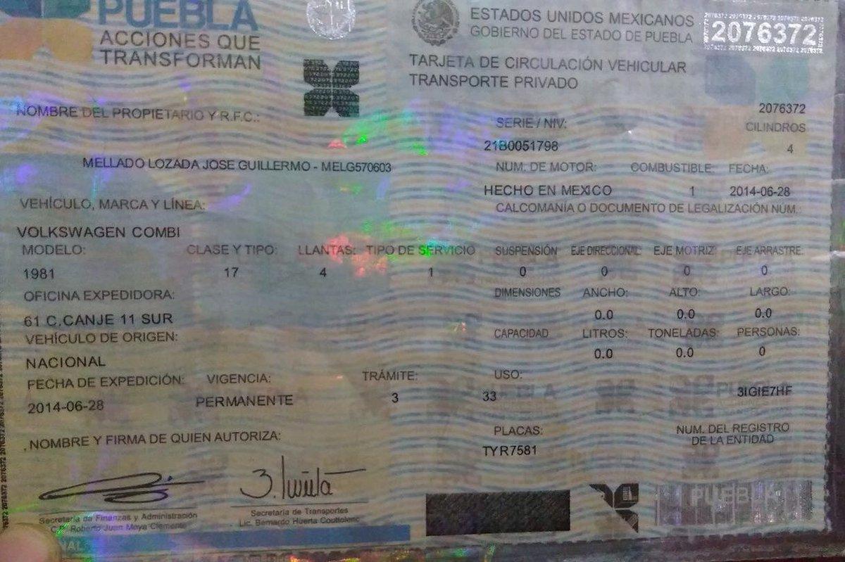 #SeBusca al dueño de esta tarjeta de circulación; fue encontrada en 105 Pte entre 3 y 5 Sur vía Vero Jiménez #Comparte #Puebla<br>http://pic.twitter.com/Y6E1CcXMUg