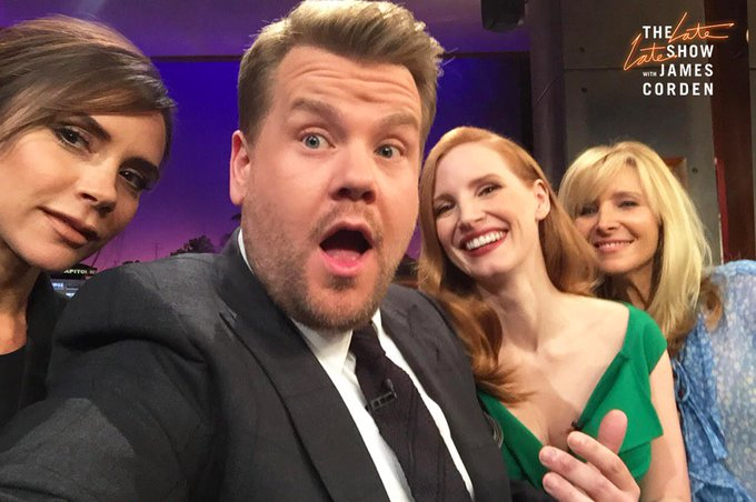 I'm in there with my VERY GOOD CLOSE FRIEND @victoriabeckham !! Always love @jes_chastain  and of course @JKCorden ❤️ https://t.co/ZEePOQtCYB