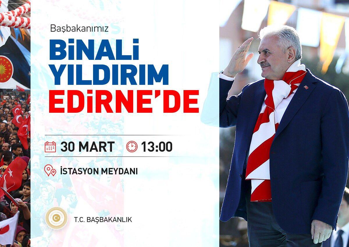 Başbakan Yıldırım, #EdirneEVETdiyor mitinginde Edirneli vatandaşlarımı...