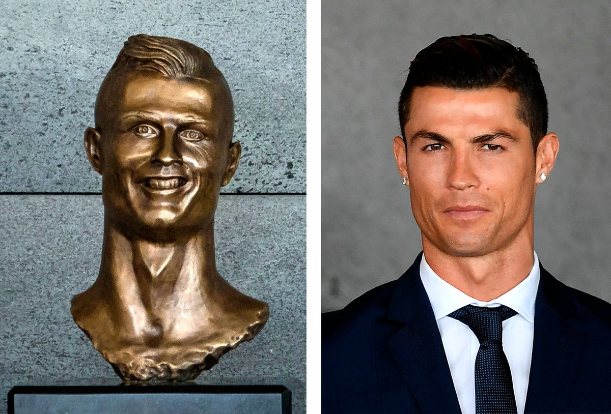 What's worse...? Ronaldo's statue or Brady's court sketches? #NFL #Ron...