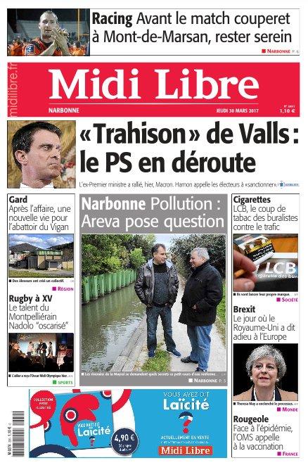 A la une de #MidiLibre #Narbonne ce jeudi - Pollution : Areva pose question - RCNM : rester sereins avant le match couperet à Mont-de-Marsan<br>http://pic.twitter.com/48qemEQfFu