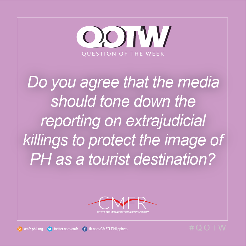 Thumbnail for QOTW: Do you agree that media should tone down reporting on EJKs to protect the image of PH as a tourist destination?