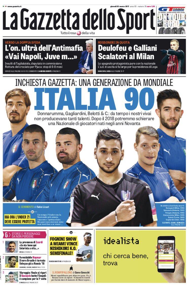 I giornali sportivi di oggi #30marzo https://t.co/iVJj9WgCQs