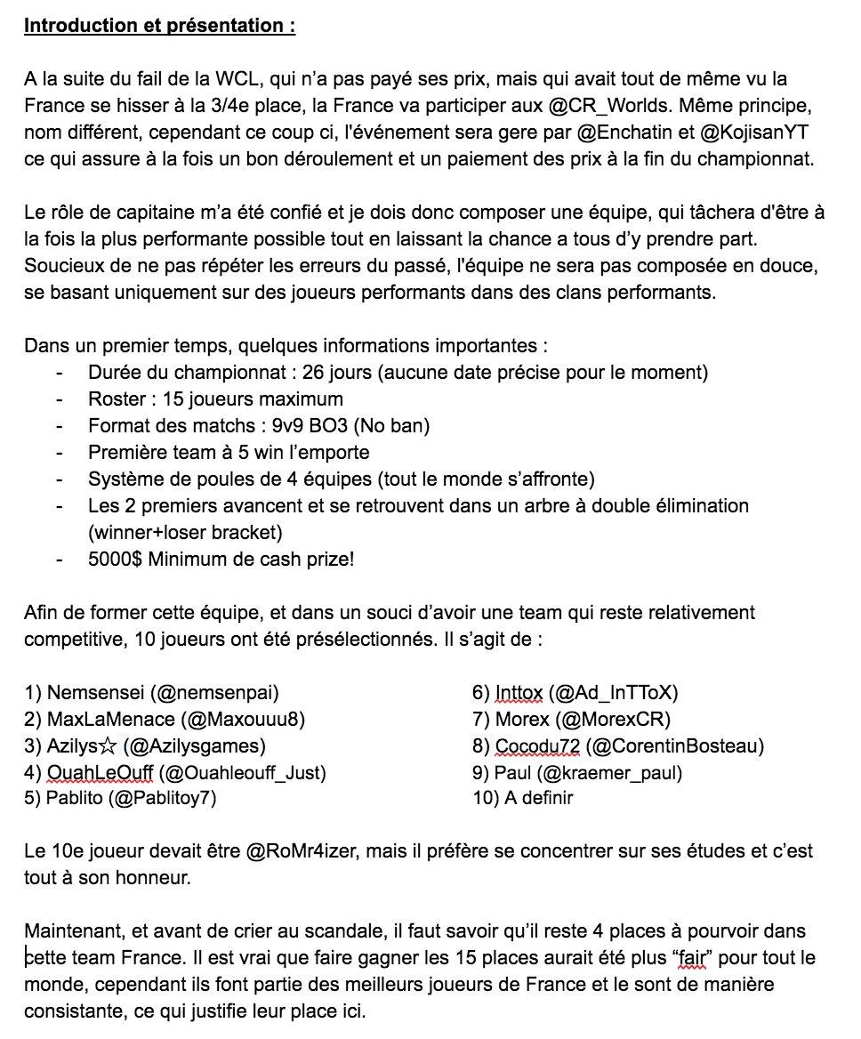 Informations sur la sélection Francaise pour les @CR_Worlds ! Une question, PV sur Twitter ou discord Eptic#5291 ! #RT <br>http://pic.twitter.com/P6fak1n5yq