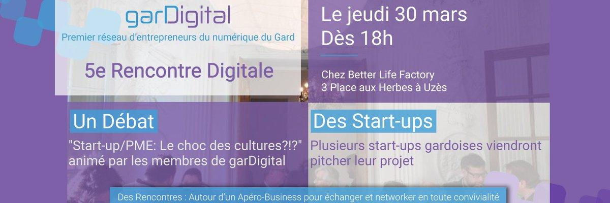 Demain soir apéro-network de #garDigital à Uzès, à 18h chez @BetterLFactory . On vous attend. #startup, #digital, #gard, #pme, #innovation<br>http://pic.twitter.com/GxREzrzR5n